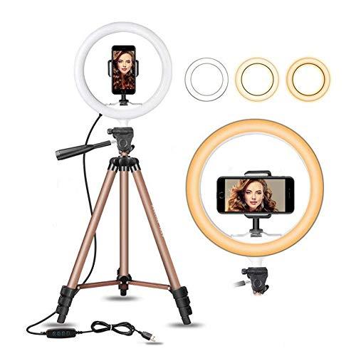 MZSG LED Light Ring pour Selfie Trépied avec Lampe Anneau Selfie pour Téléphone Youtube Éclairage Photographie Appareil Photo Équipement Clip Holder