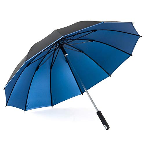 ZTMN Schwarz Einfache Golfschirm Classics Für Männer Und Frauen Langgriff Regenschirm Wasserdicht Winddicht Commerce Outdoor Reiseschirm Neutralschirm Mit 12 Rippen