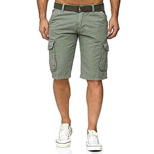 rren-Shorts mit Mehreren Taschen, Herren Knopf Einfarbig Baumwolle Mehrfach Overalls Shorts Cargo Short Pant ()