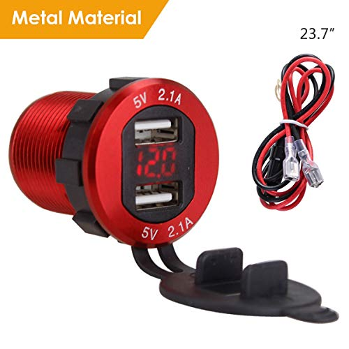 4.2A Dual USB 2.1A & 2.1A Ladegerät Buchse Wasserdichte Steckdose W/LED Voltmeter & Draht Inline 10A Sicherung für 12-24 V Auto Boot Marine Motorrad (Color : Red Shell Red Light)