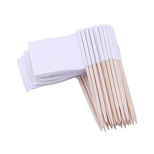 FOONEE Toothpick Flags, Mini Blank White Flag Kuchendeckel Käse Marker Papier Food Picks für Halloween Geburtstag Party Kuchen Cocktail Sandwiches Vorspeisen Dekoration