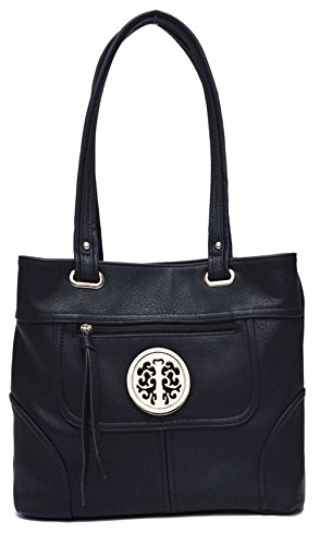 Big Handbag Shop da donna, in ecopelle, con due scomparti Borsa a tracolla (Black (KL586))
