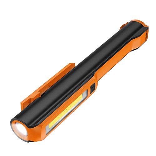 Housolution Pocket Pen Arbeitsleuchte, Ultrahelle Inspektionsarbeitsleuchte mit Leistungsstarker Magnethalterung,drehbarem Magentic Clip, 160 Lumen COB Lampe + 130 Lumen Flash, Doppelmagnet - Orange