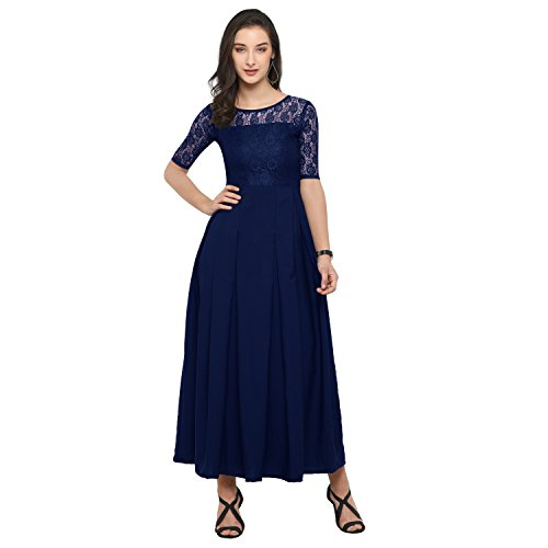 Fashion2wear Women's Crepe Gown (Blue, XL)