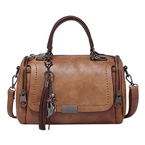 REALIKE Damen Umhängetasche Kuriertasche Retro Einfarbig Quaste Mehrere Taschen Schultertasche Handtasche Elegant klein weiblichen Beutel Henkeltasche Abendhandtasche Einkaufstasche