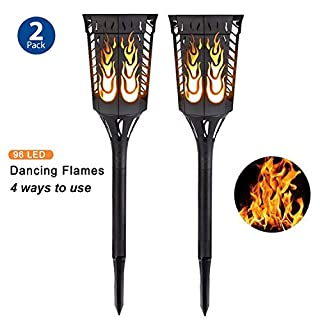 Solar Torch Light Garden Flickering Flame Lamp Outdoor Waterproof Landscape Decoration Pathway Lantern Lighting Dusk to Dawn Auto On/Off Security Night Light (2 Pack)