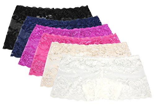 CharmLeaks Womens Sexy Lace Seamless Underwear Soft Briefs Hipsters Stretch Panties Knickers Multipacks