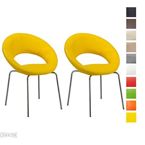 2x Konferenzstuhl Esszimmerstuhl GELB Besucherstuhl Beistellstuhl aus Kunstleder Stuhl Farbauswahl TYP - 679M (Kunstleder Gelb)