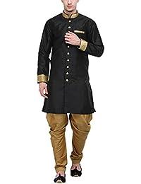 RG Designers Black And Gold Plain Sherwani For Men