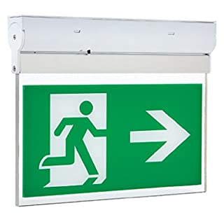 Hispec LED 3w Emergency Fire Exit Sign Light Arrow Left or Right Non or Maintained