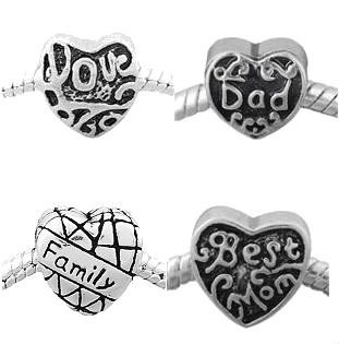 , Dad, Love, Family Charm Spacer Beads. Fits Style Bracelets. ()