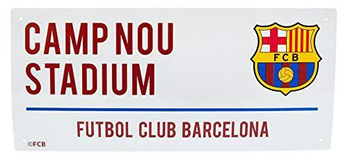 Barcelona Football Club Camp Nou Stadium White Metal Street Sign Official Wall - Shop Street Sign