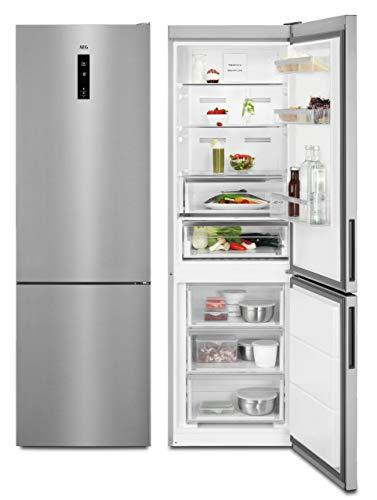 AEG RCB73421TX Freistehende Kühl-Gefrierkombination / Großer Edelstahl-Standkühlschrank mit Gefrierfach / 0°C-Fach & NoFrost / Energieeffizienzklasse A++