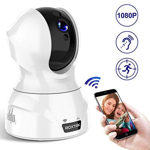 Überwachungskamera, ROXTAK 1080P FHD WLAN IP Kamera mit Personendetektion, Geräuschmelder, Bewegungsmelder| Alexa kompatibel| IR Nachtsicht 350֯ &100֯ Pan&Tilt | Cloudspeicher| [NeueVersion]