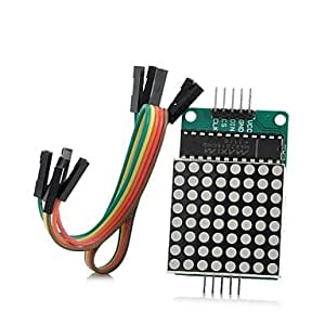 DIY MAX7219 Red Dot Matrix Module with 5-Dupont Lines for (For Arduino)
