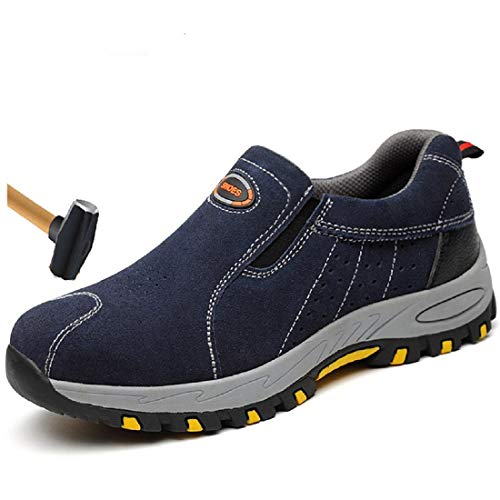 TongCart Plus Größe Atmungsaktiv Outdoor Kuh Wildleder Leder Stahl Kappe Arbeit Stiefel Schuhe Männer Anti-Slip Pannensichere Sicherheit Schuhe (Für Arbeit Männer Leder Schuhe)