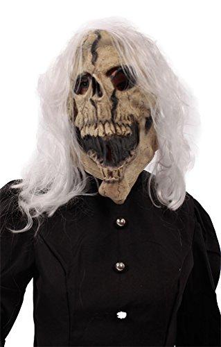 Mumie Kostüme Baby (Karneval Klamotten Maske Skelett Totenkopf Schädel Maske mit Haaren Halloween)