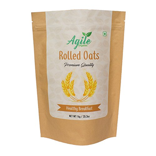 Agile Organic Authentic Rolled Oats – 1 Kg (Gluten Free)