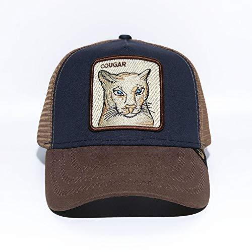 sdssup Tier Baseball Cap Fox Stickerei Hut Mesh Cap Hut Leopard dunkelblaue Farbe einstellbar Madrid Vase