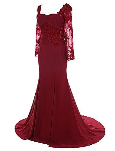 Dresstells, Robe de soirée Robe de cérémonie Robe de mère de mariée col en cœur traîne moyenne manches longues Corail