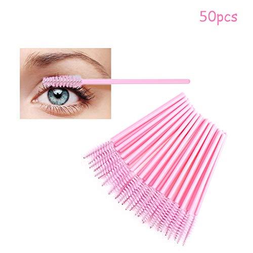 LUVODI Lot de 50 Brosses à Cils Jetables Applicateur Mascara Pour Cils et Sourcils Kit Pinceaux pour Extensions de Cils - Rose