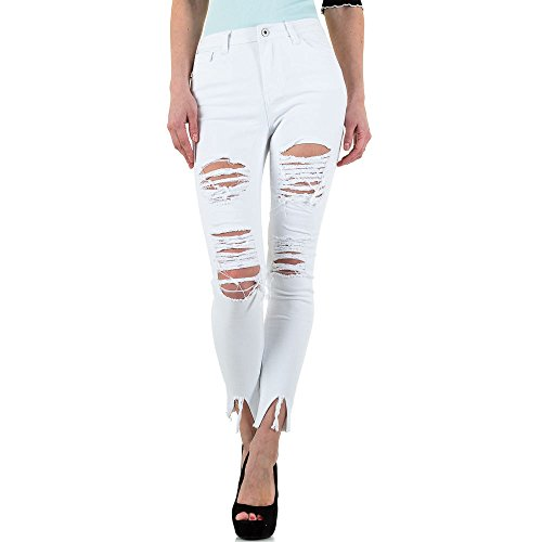 Destroyed Cropped Skinny Jeans Für Damen bei Ital-Design Weiß