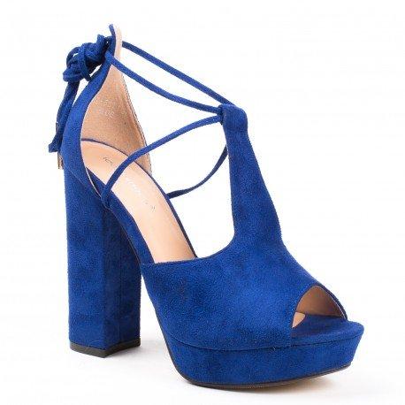 Ideal Shoes - Sandales effet daim à talon épais et bout ouvert Manina Bleu