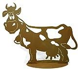 Metallmichl Edelrost Rost Kuh Liselotte 71 cm lang auf Platte tolle Edelrost Dekokuh