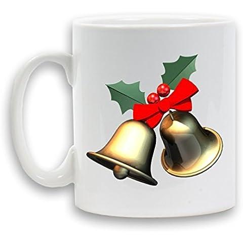 Campanelli per decorazioni natalizie in ceramica stampata, Tazza, 11 cl, confezione regalo da tè e da caffè a forma di contenitore per bevande, colore: bianco