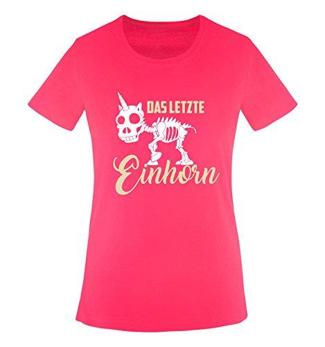 Comedy Shirts - Das letzte Einhorn - Skelette - Damen T-Shirt - Pink/Beige-Weiss Gr. L