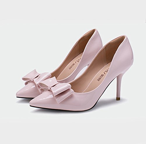 Damen Pumps Slip on Spitz Zehen mit Schleife Dekoriert Elegant High-Heels Rutschhemmend Lackleder Büro Freizeit Modisch Stiletto Pink