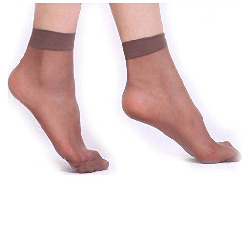Covermason 10 Paare Frauen ultradünne transparente Faser Kristall elastische kurze Socken (Kaffee) - Kristall Kaffee