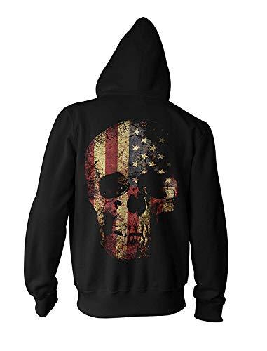 Herren Kapuzenpullover Zipper USA Totenkopf Rock Grunge Skull Biker Hoodie Rock Star Zip Sweatshirt