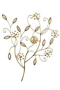 Premier Housewares 2800598 Décoration Murale Fleurs de Bijoux Bronze Métal