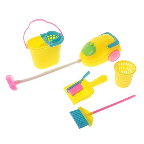 Gazechimp 6er / Set Puppe Möbel Reinigung Werkzeuge Set für Barbie Puppenstube Zubehör
