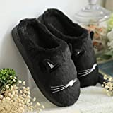 MTXnn Cotton Slippers Women's Thick Foundation Inverno Cute Indoor Arredamento per la casa Coppia Maschio Chiudere Slip Warm Winter, Cat Black, 35-36