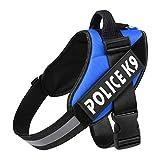 LCBN® Hund Brustgurt Explosionsgeschützter Ansturm K9 Reflektierend Einfach Zu Steuern Abnehmbares Logo Einstellbar Reflektierendes Federzugseil Mehrfachfarbe,Blue,XL