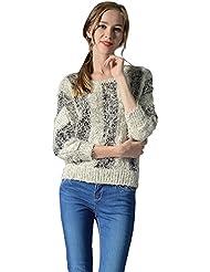 CeRui Mujer Prendasop de Punto Rayado Jersey Suéter de Cuello Redondo