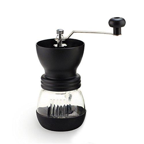 Manuelle Kaffeemühle Auffangbehälter Handliche Mühle mit Keramikmahlwerk für feinsten frischgemahlenen Kaffee - Graues Schwarz