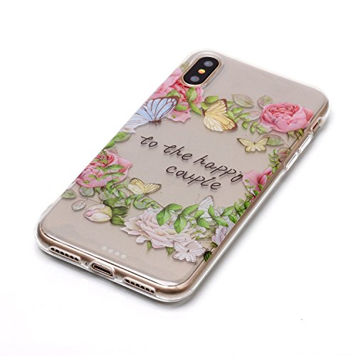 iPhone X Hülle, Voguecase Silikon Schutzhülle / Case / Cover / Hülle / TPU Gel Skin für Apple iPhone X(Lace Teppich 10) + Gratis Universal Eingabestift to the happy couple