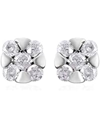TJC Genuine White Diamond SGL CERTIFIED I3/G-H 9ct Gold Push Back Solitaire Stud Earrings for Women & Girls, 0.25 ct Yellow Gold/White Gold
