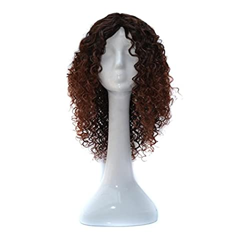 Tianya Filtre densité Naturel Hairline Femme complète Petite bouclés synthétique double Couleur mixte Perruques, marron foncé, Length:Approx.50cm