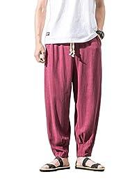 Pantalones De Lino De Verano De Los Hombres De Ropa Pantalones Playa  Sueltos Pantalones De 3 4 Pantalones De Harén Pantalones… 03b43117d9a