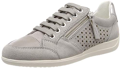 GEOX MYRIA Ladies Womens Leather Casual Zip Lace Up Trainers Light Gold Cream