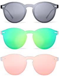 c5e0f3af6e Gafas de sol Polarizadas Sin Marco Reflexivo Una Pieza Redondas Espejo Sin  Montura Anteojos Para Hombre