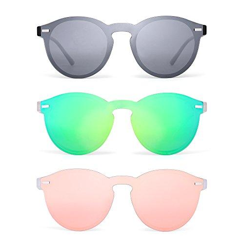 JIM HALO Polarisiert Randlos Sonnenbrille Reflektierend Ein Stück Rund Spiegeln Brillen Zum Damen Herren 3 Stück(Silber&Grün&Pink)