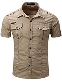 Hibote Hombre Camisas Manga Corta Slim Fit Color Sólido Moda Hombre Casual Camisas Verano Outdoor S-3XL AVyGIJiut