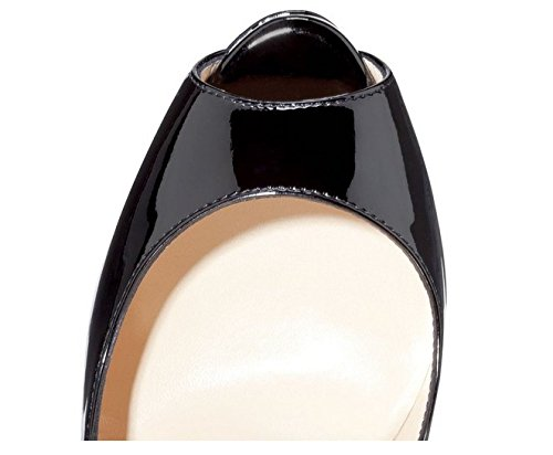 EDEFS Damenschuhe High Heels Plateau Pumps Peep Toe Stilettos Kleid-Partei Schuhe Schwarz