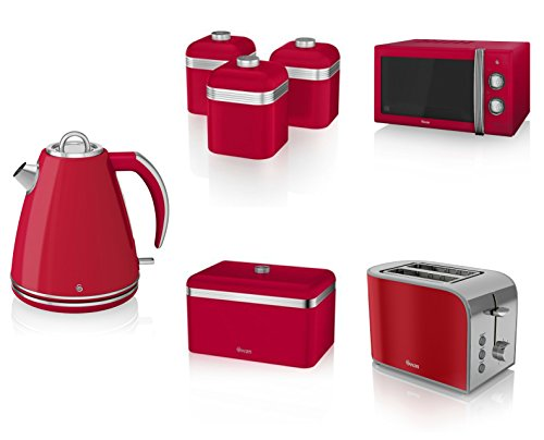 Swan Kitchen Appliance Retro Set - Red Microwave, 1.5l Jug Kettle, 2 Slice Toaster, Retro Breadbin And 3 Canisters Set