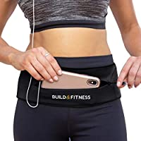 Build & Fitness Running Belt YKK Zip Pouch, Adjustable Waist with Key Clip - Fits fuel Gel, iPhone 6,7,8 plus, X, Samsung S7,S8,S9 - For Men, Women, Runners, Jogging, Gym, Yoga, Workout, Sports